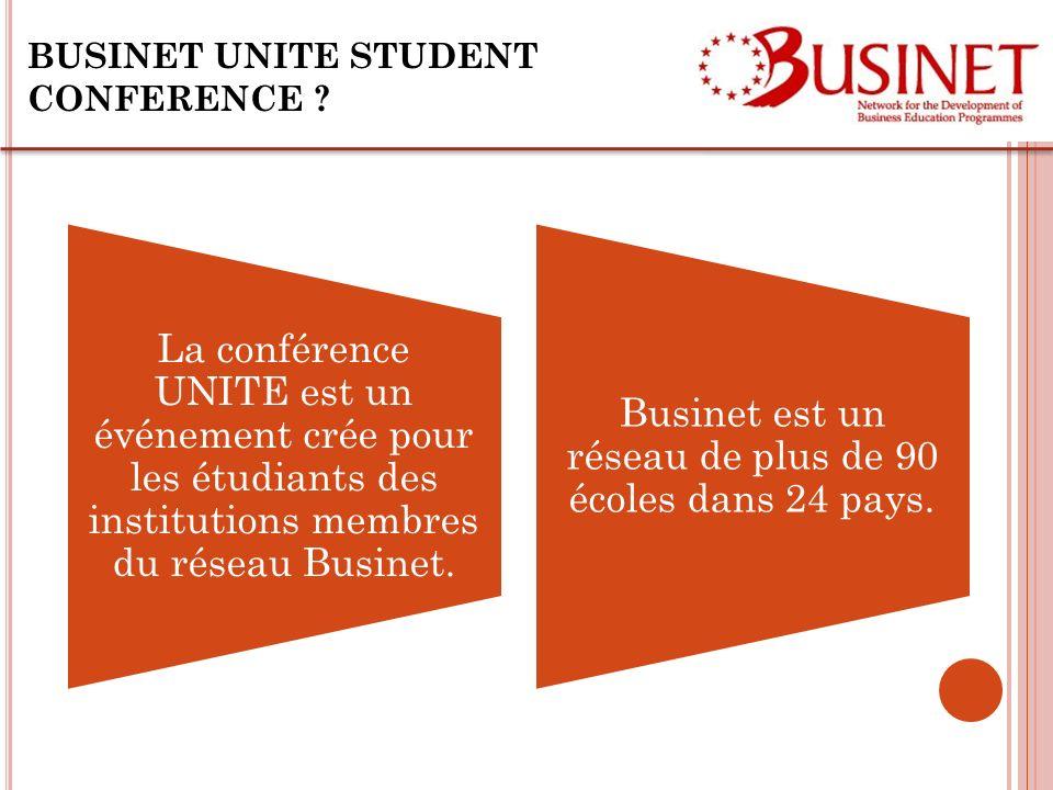 BUSINET UNITE STUDENT CONFERENCE ? La conférence UNITE est un événement crée pour les étudiants des institutions membres du réseau Businet. Businet es
