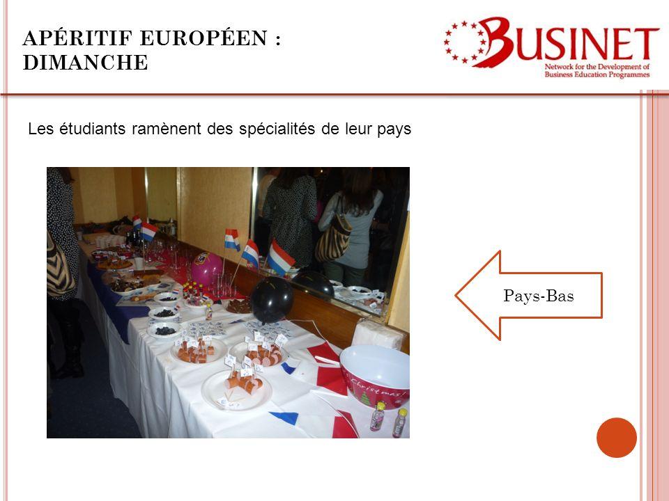 APÉRITIF EUROPÉEN : DIMANCHE Les étudiants ramènent des spécialités de leur pays Pays-Bas