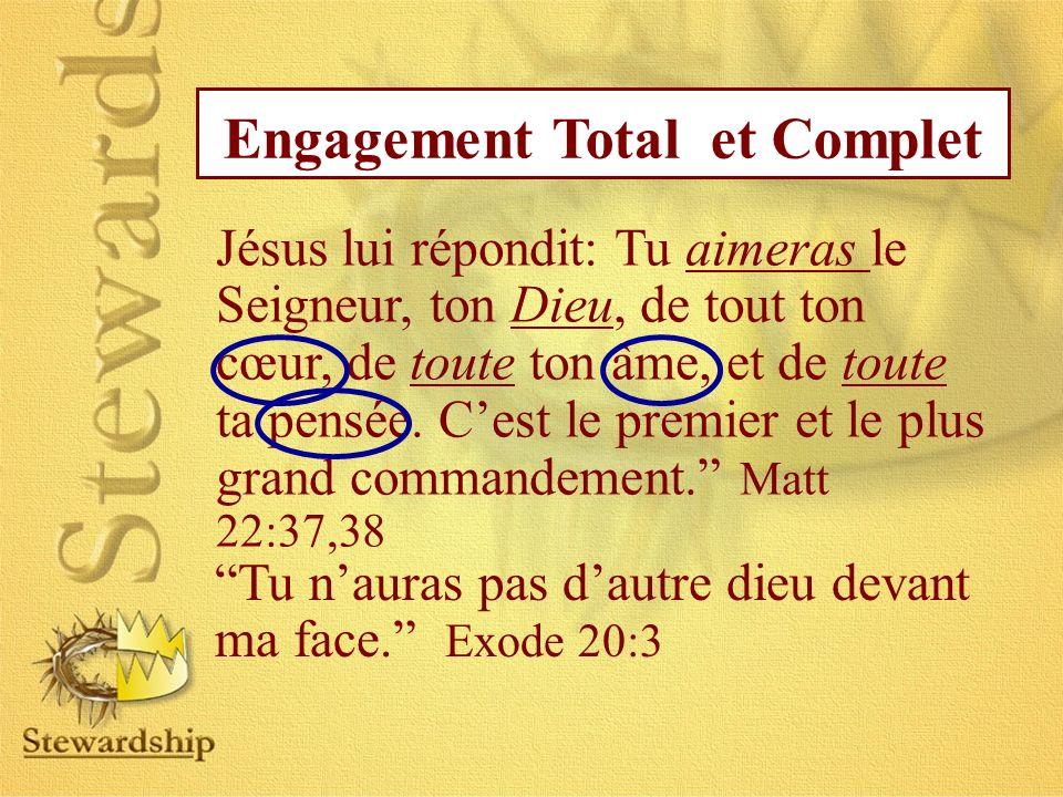 Jésus lui répondit: Tu aimeras le Seigneur, ton Dieu, de tout ton cœur, de toute ton âme, et de toute ta pensée. Cest le premier et le plus grand comm