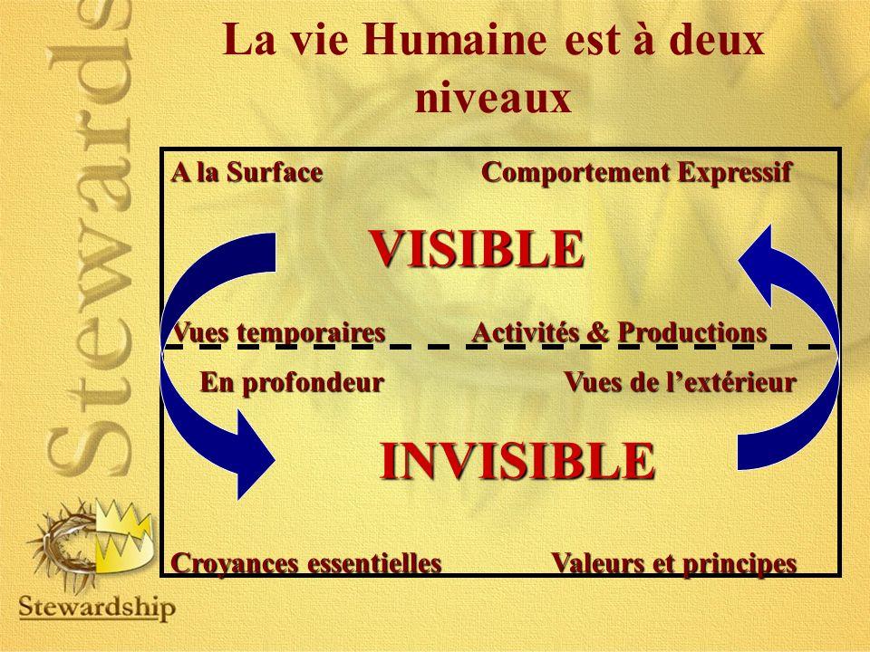 La vie Humaine est à deux niveaux A la Surface Comportement Expressif Vues temporaires Activités & Productions En profondeur Vues de lextérieur En pro