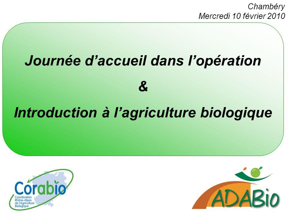 Journée daccueil dans lopération & Introduction à lagriculture biologique Chambéry Mercredi 10 février 2010