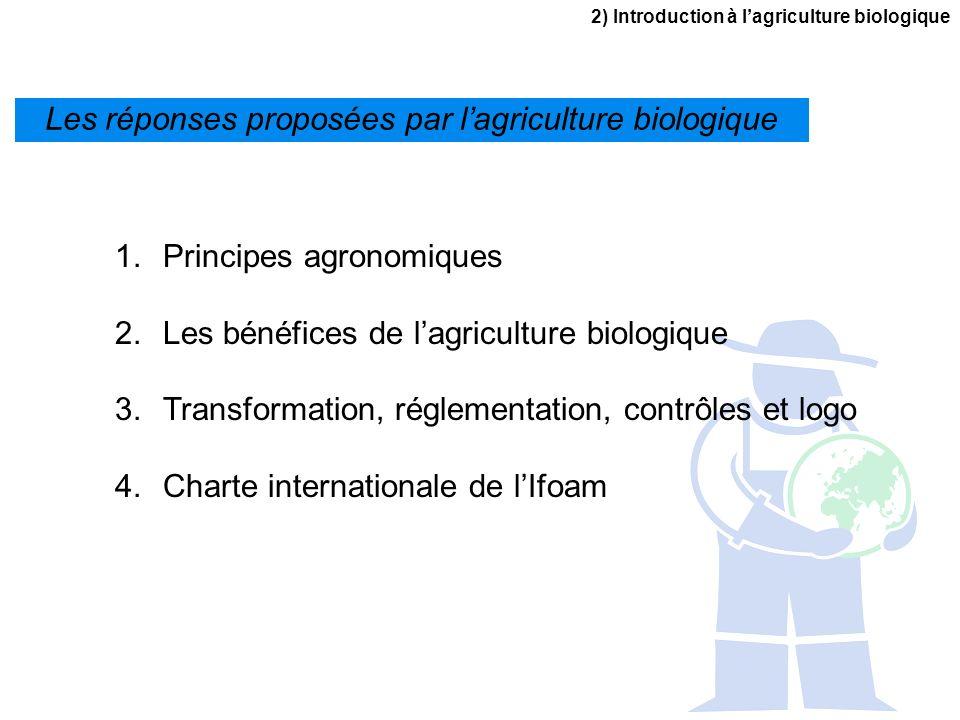 2) Introduction à lagriculture biologique 1.Principes agronomiques 2.Les bénéfices de lagriculture biologique 3.Transformation, réglementation, contrô