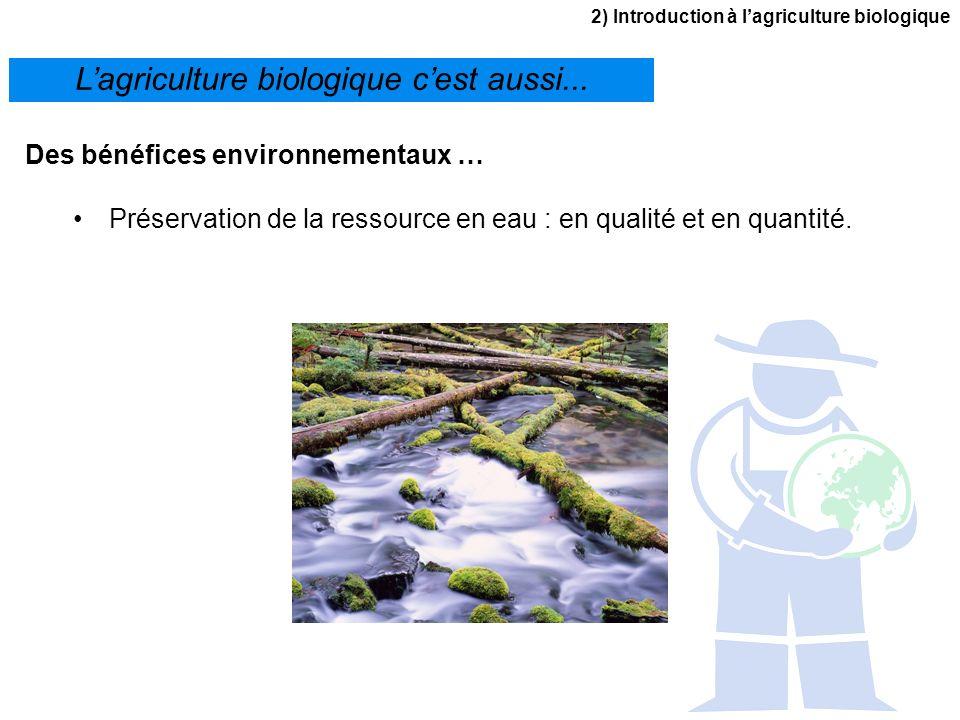 2) Introduction à lagriculture biologique Lagriculture biologique cest aussi... Des bénéfices environnementaux … Préservation de la ressource en eau :