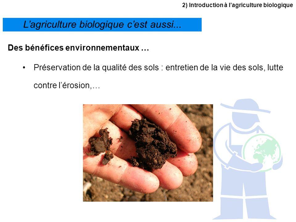 2) Introduction à lagriculture biologique Lagriculture biologique cest aussi... Des bénéfices environnementaux … Préservation de la qualité des sols :