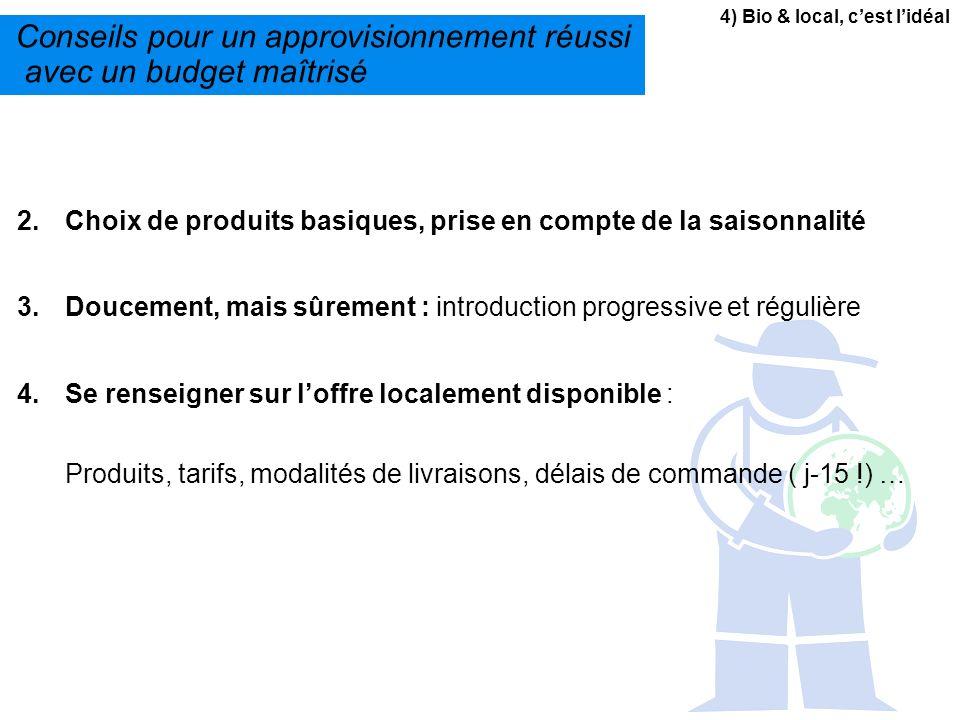4) Bio & local, cest lidéal Conseils pour un approvisionnement réussi avec un budget maîtrisé 2.Choix de produits basiques, prise en compte de la sais