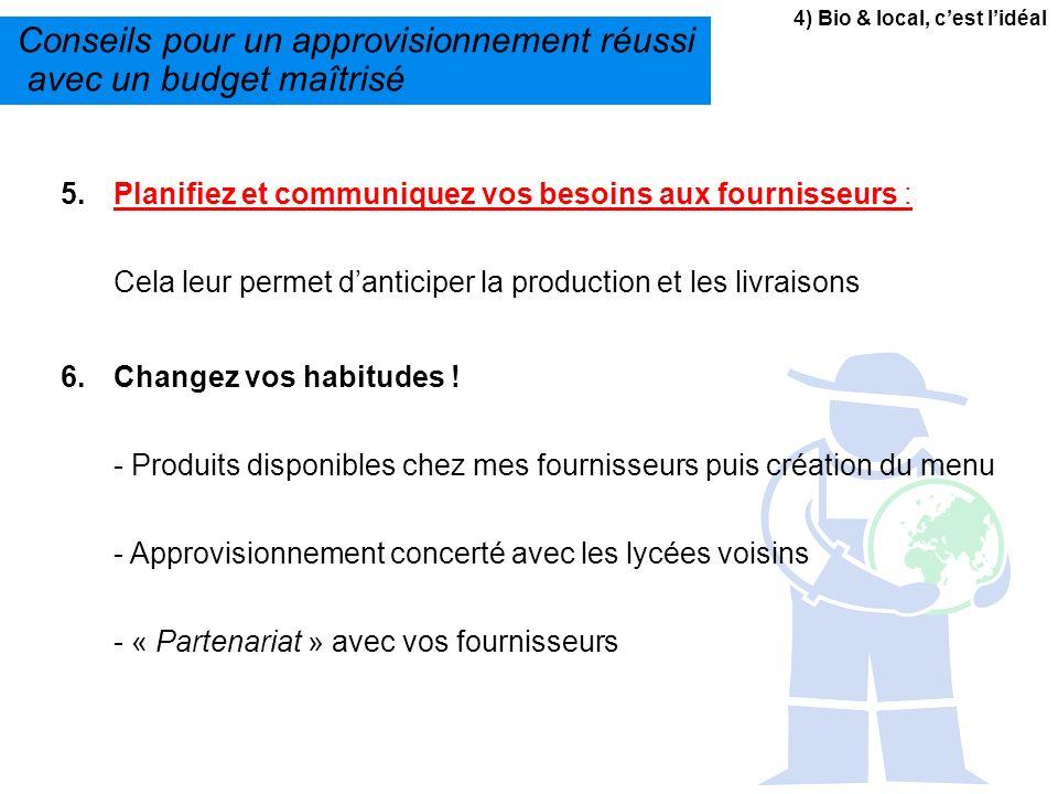 4) Bio & local, cest lidéal Conseils pour un approvisionnement réussi avec un budget maîtrisé 5.Planifiez et communiquez vos besoins aux fournisseurs