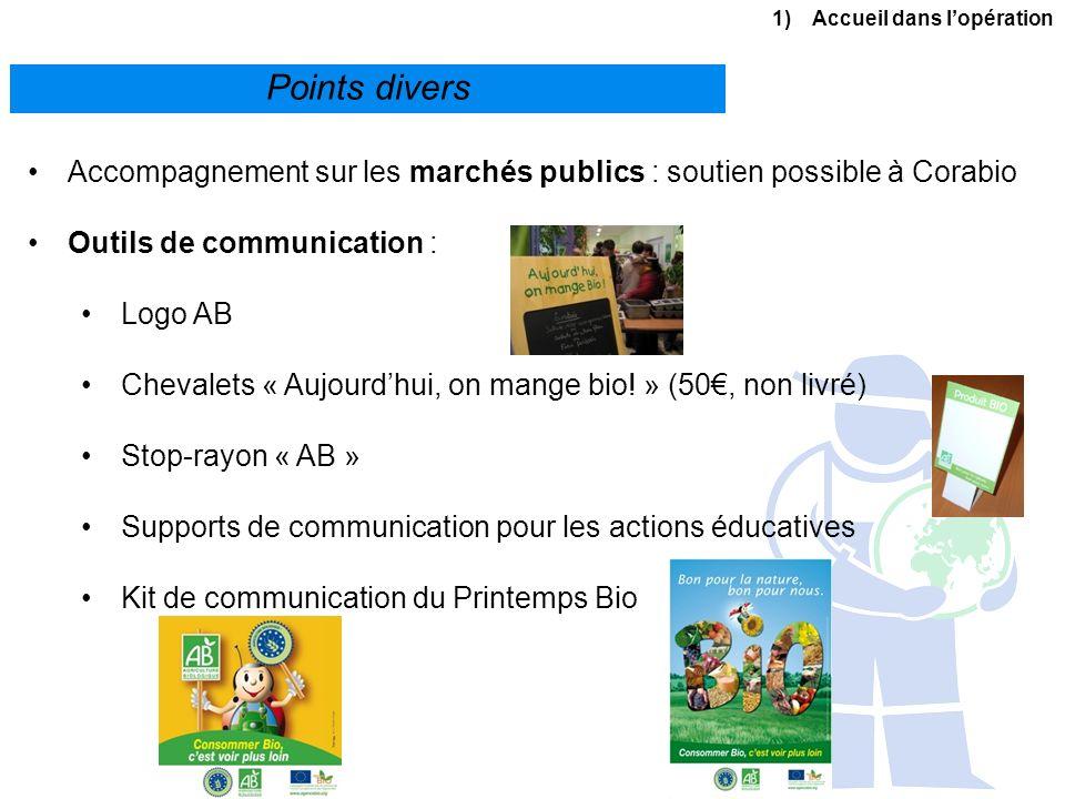 1)Accueil dans lopération Points divers Accompagnement sur les marchés publics : soutien possible à Corabio Outils de communication : Logo AB Chevalet