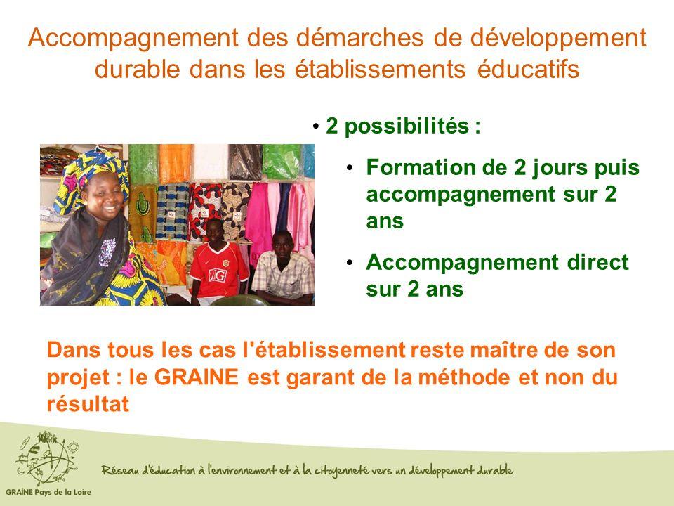 Accompagnement des démarches de développement durable dans les établissements éducatifs 2 possibilités : Formation de 2 jours puis accompagnement sur