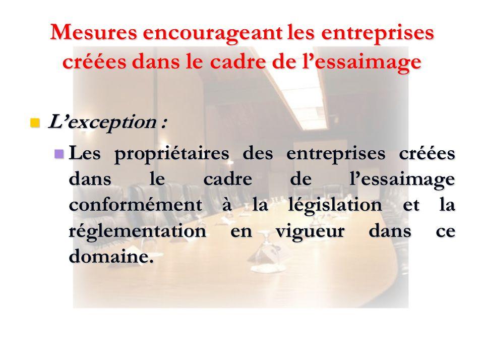 Lexception : Lexception : Les propriétaires des entreprises créées dans le cadre de lessaimage conformément à la législation et la réglementation en v