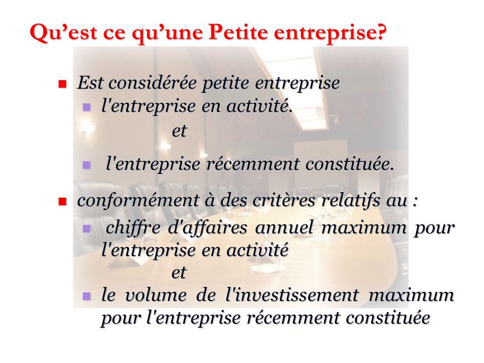 Quest ce quune Petite entreprise? Est considérée petite entreprise Est considérée petite entreprise l'entreprise en activité. l'entreprise en activité