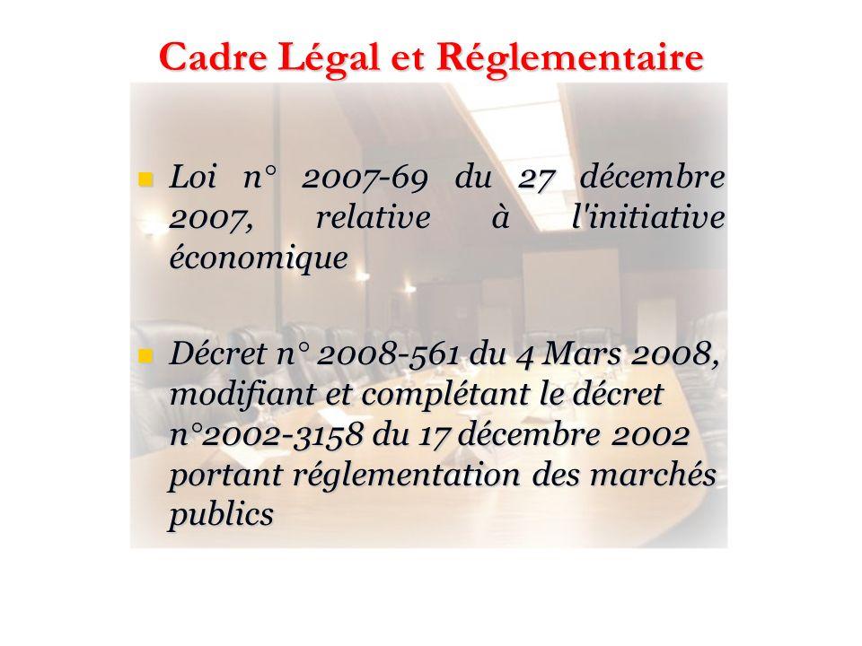 Cadre Légal et Réglementaire Loi n° 2007-69 du 27 décembre 2007, relative à l'initiative économique Loi n° 2007-69 du 27 décembre 2007, relative à l'i