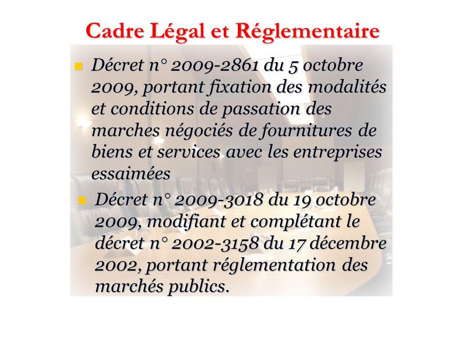 Décret n° 2009-2861 du 5 octobre 2009, portant fixation des modalités et conditions de passation des marches négociés de fournitures de biens et servi