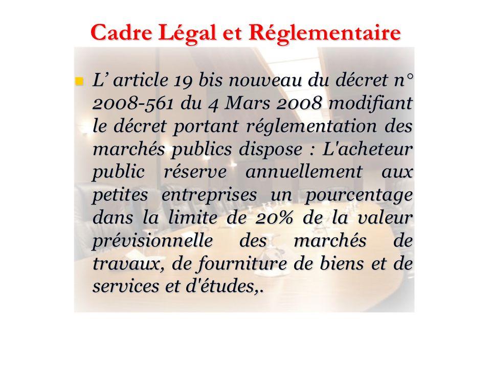 L article 19 bis nouveau du décret n° 2008-561 du 4 Mars 2008 modifiant le décret portant réglementation des marchés publics dispose : L'acheteur publ