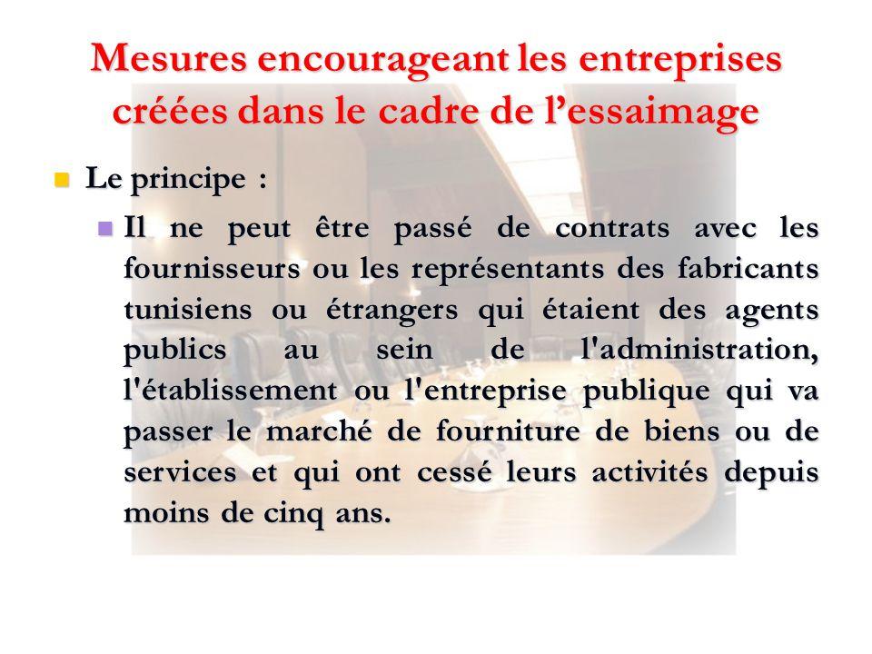 Mesures encourageant les entreprises créées dans le cadre de lessaimage Le principe : Le principe : Il ne peut être passé de contrats avec les fournis