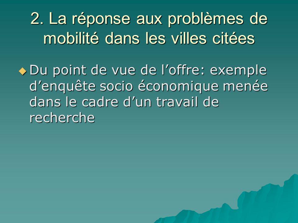 2. La réponse aux problèmes de mobilité dans les villes citées Du point de vue de loffre: exemple denquête socio économique menée dans le cadre dun tr