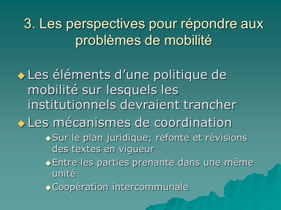 3. Les perspectives pour répondre aux problèmes de mobilité Les éléments dune politique de mobilité sur lesquels les institutionnels devraient tranche