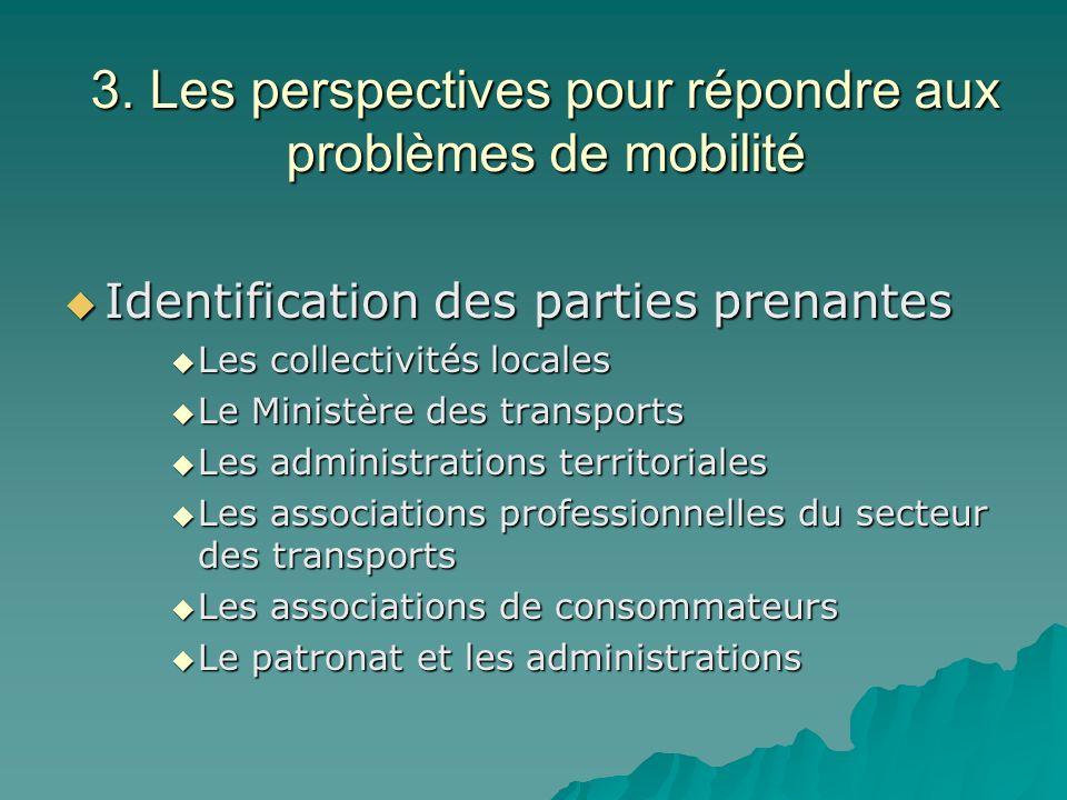 3. Les perspectives pour répondre aux problèmes de mobilité Identification des parties prenantes Identification des parties prenantes Les collectivité