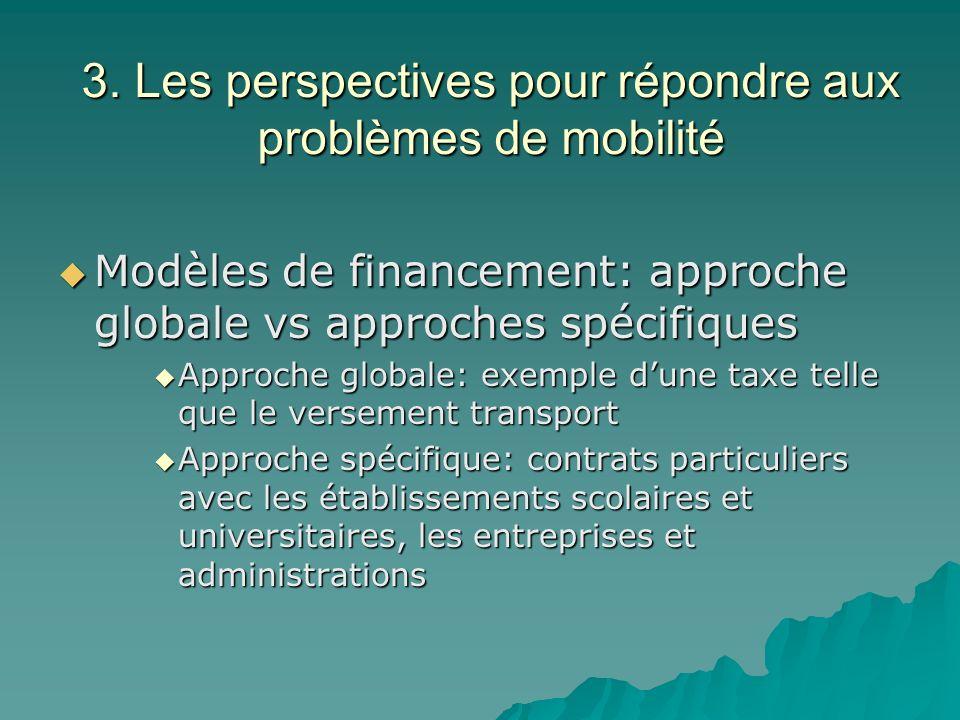 3. Les perspectives pour répondre aux problèmes de mobilité Modèles de financement: approche globale vs approches spécifiques Modèles de financement: