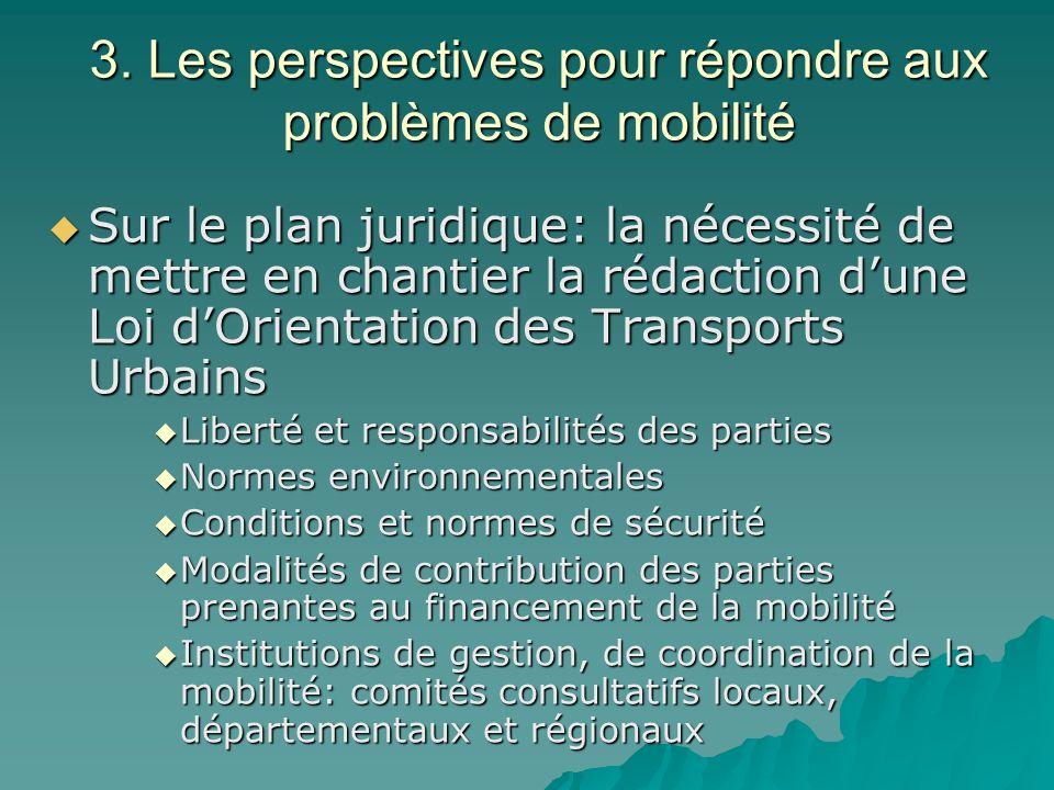 3. Les perspectives pour répondre aux problèmes de mobilité Sur le plan juridique: la nécessité de mettre en chantier la rédaction dune Loi dOrientati