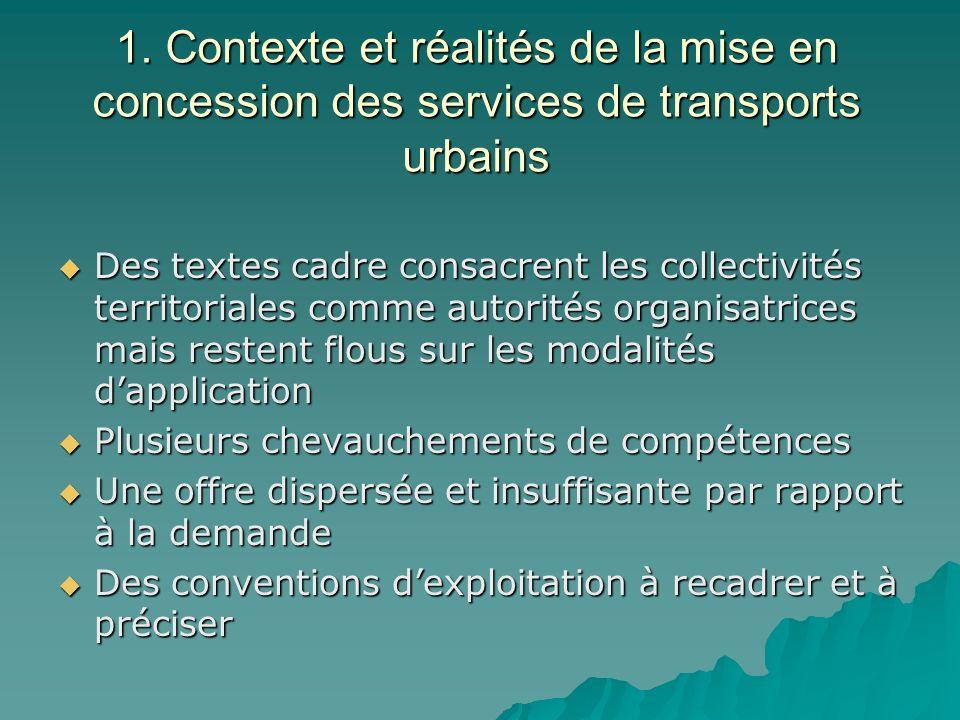 1. Contexte et réalités de la mise en concession des services de transports urbains Des textes cadre consacrent les collectivités territoriales comme