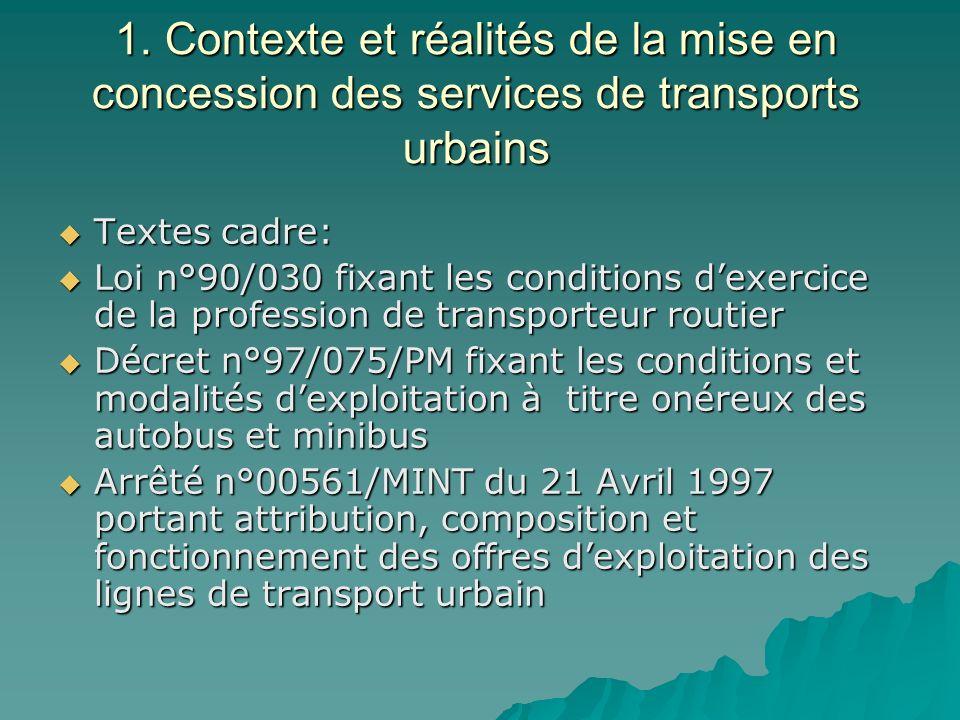 1. Contexte et réalités de la mise en concession des services de transports urbains Textes cadre: Textes cadre: Loi n°90/030 fixant les conditions dex