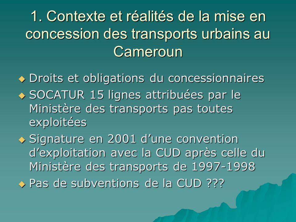 1. Contexte et réalités de la mise en concession des transports urbains au Cameroun Droits et obligations du concessionnaires Droits et obligations du