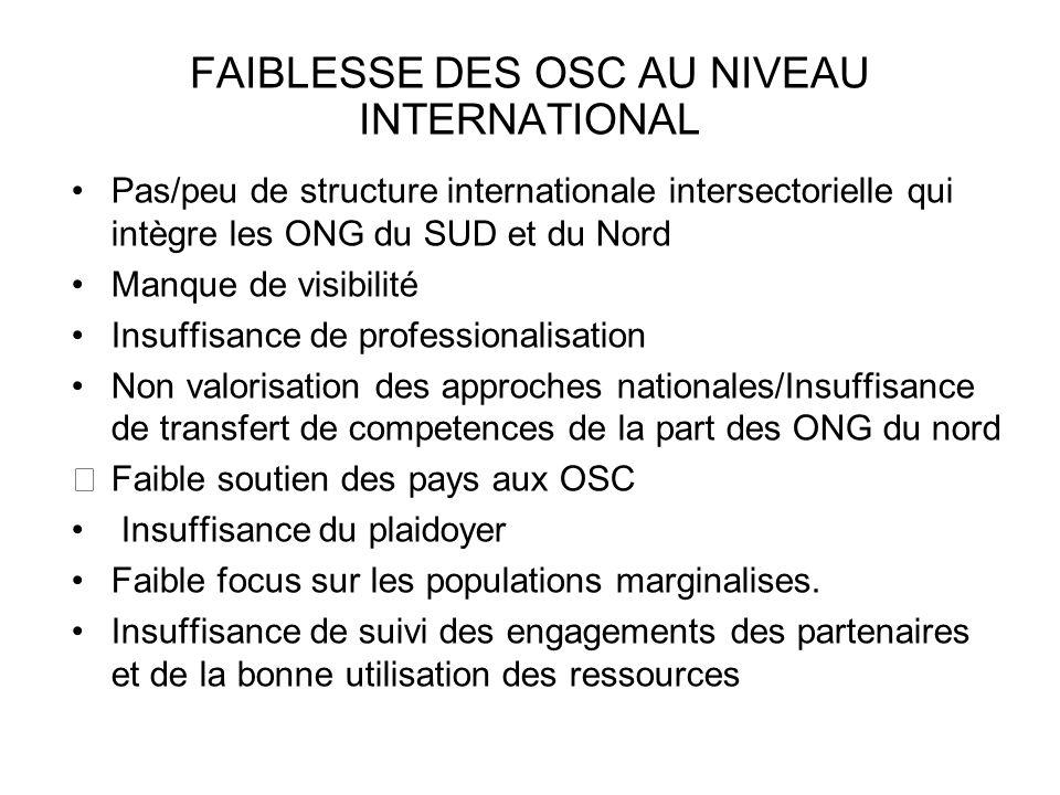 FAIBLESSE DES OSC AU NIVEAU INTERNATIONAL Pas/peu de structure internationale intersectorielle qui intègre les ONG du SUD et du Nord Manque de visibil