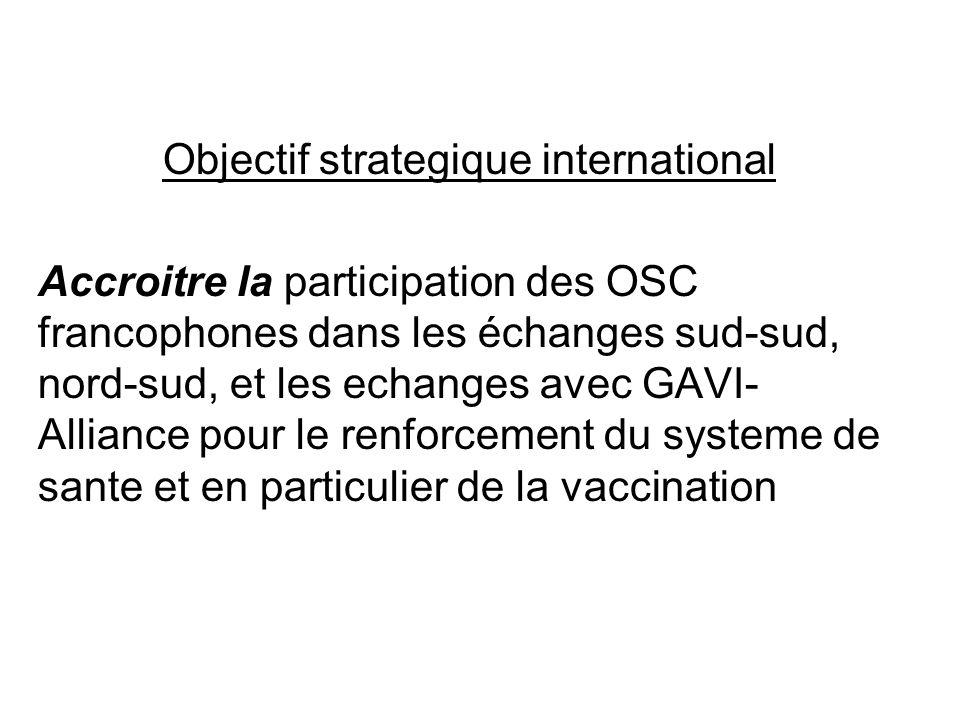 Objectif strategique international Accroitre la participation des OSC francophones dans les échanges sud-sud, nord-sud, et les echanges avec GAVI- All