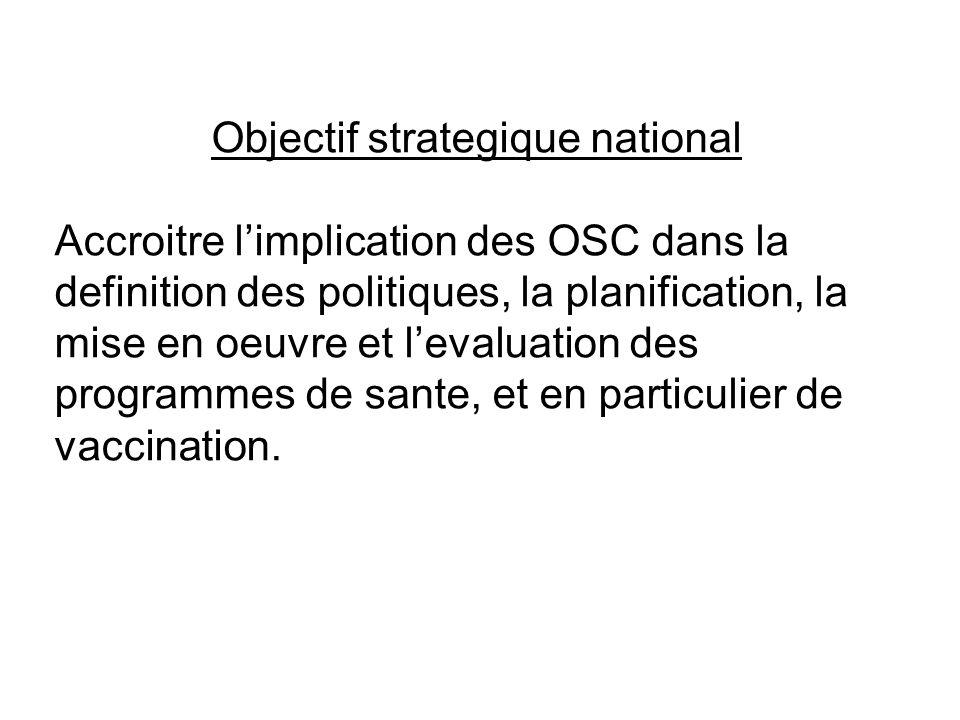 Objectif strategique national Accroitre limplication des OSC dans la definition des politiques, la planification, la mise en oeuvre et levaluation des
