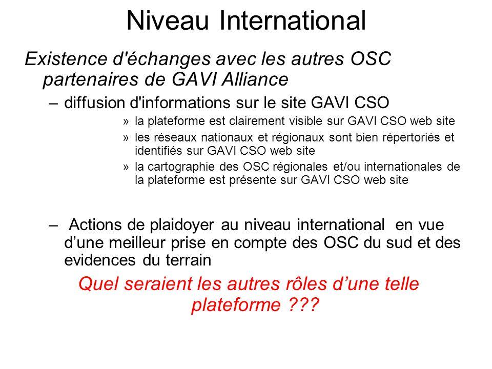 Niveau International Existence d'échanges avec les autres OSC partenaires de GAVI Alliance –diffusion d'informations sur le site GAVI CSO »la platefor