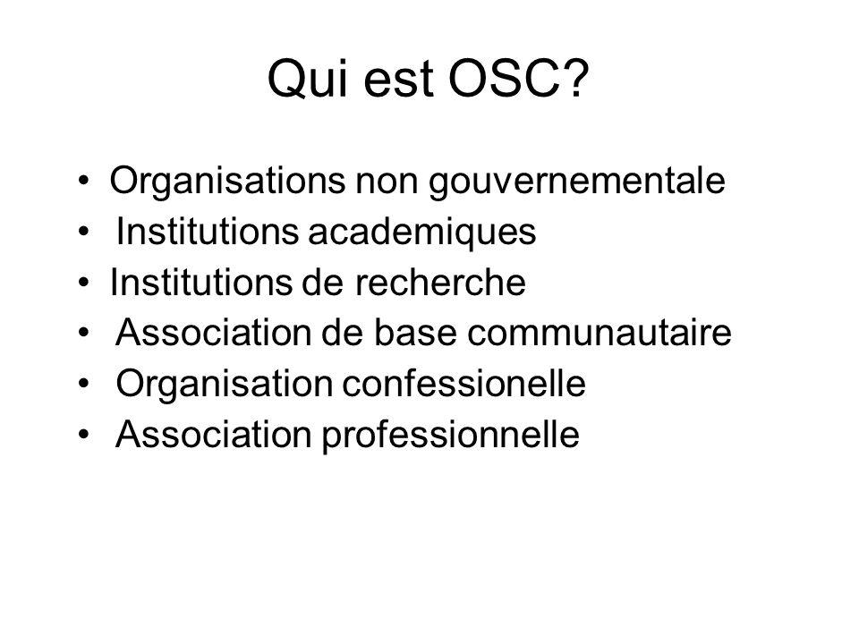 Qui est OSC? Organisations non gouvernementale Institutions academiques Institutions de recherche Association de base communautaire Organisation confe