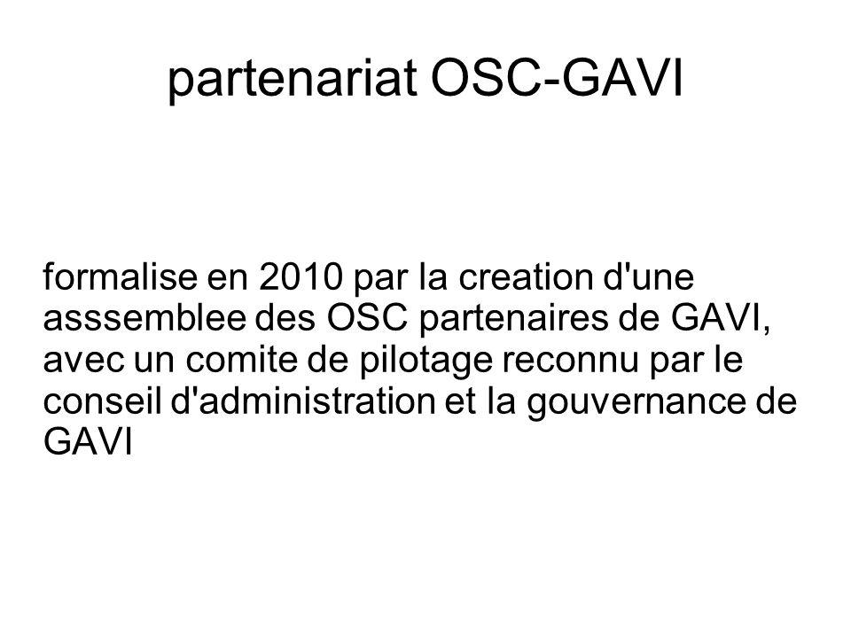 partenariat OSC-GAVI formalise en 2010 par la creation d'une asssemblee des OSC partenaires de GAVI, avec un comite de pilotage reconnu par le conseil