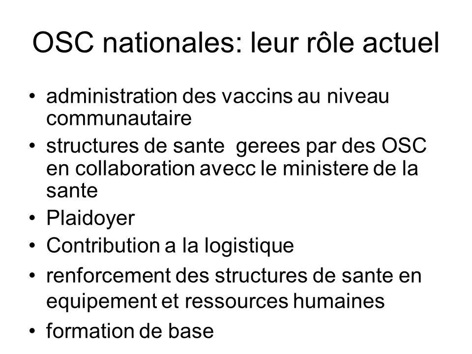 OSC nationales: leur rôle actuel administration des vaccins au niveau communautaire structures de sante gerees par des OSC en collaboration avecc le m
