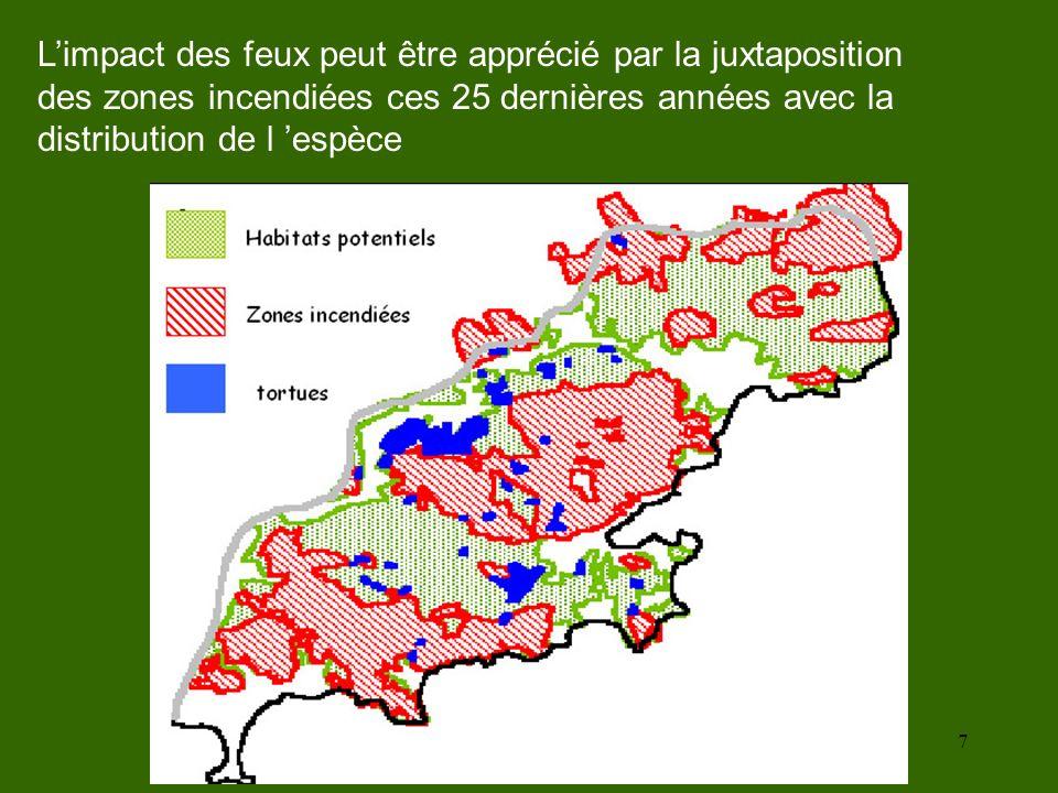 7 Limpact des feux peut être apprécié par la juxtaposition des zones incendiées ces 25 dernières années avec la distribution de l espèce