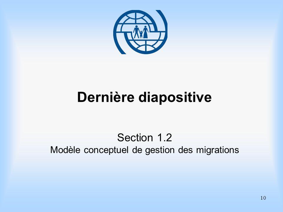10 Dernière diapositive Section 1.2 Modèle conceptuel de gestion des migrations