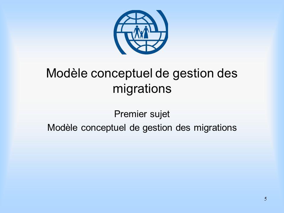 5 Modèle conceptuel de gestion des migrations Premier sujet Modèle conceptuel de gestion des migrations