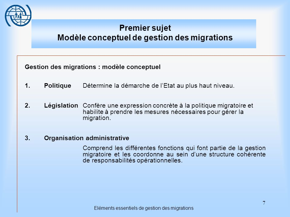 Eléments essentiels de gestion des migrations 7 Premier sujet Modèle conceptuel de gestion des migrations Gestion des migrations : modèle conceptuel 1