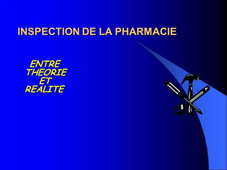 INSPECTION DE LA PHARMACIE ENTRE THEORIE ET REALITE ENTRE THEORIE ET REALITE