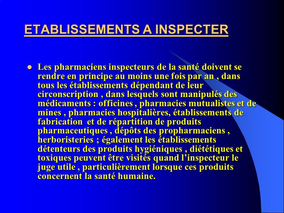 ETABLISSEMENTS A INSPECTER Les pharmaciens inspecteurs de la santé doivent se rendre en principe au moins une fois par an, dans tous les établissement