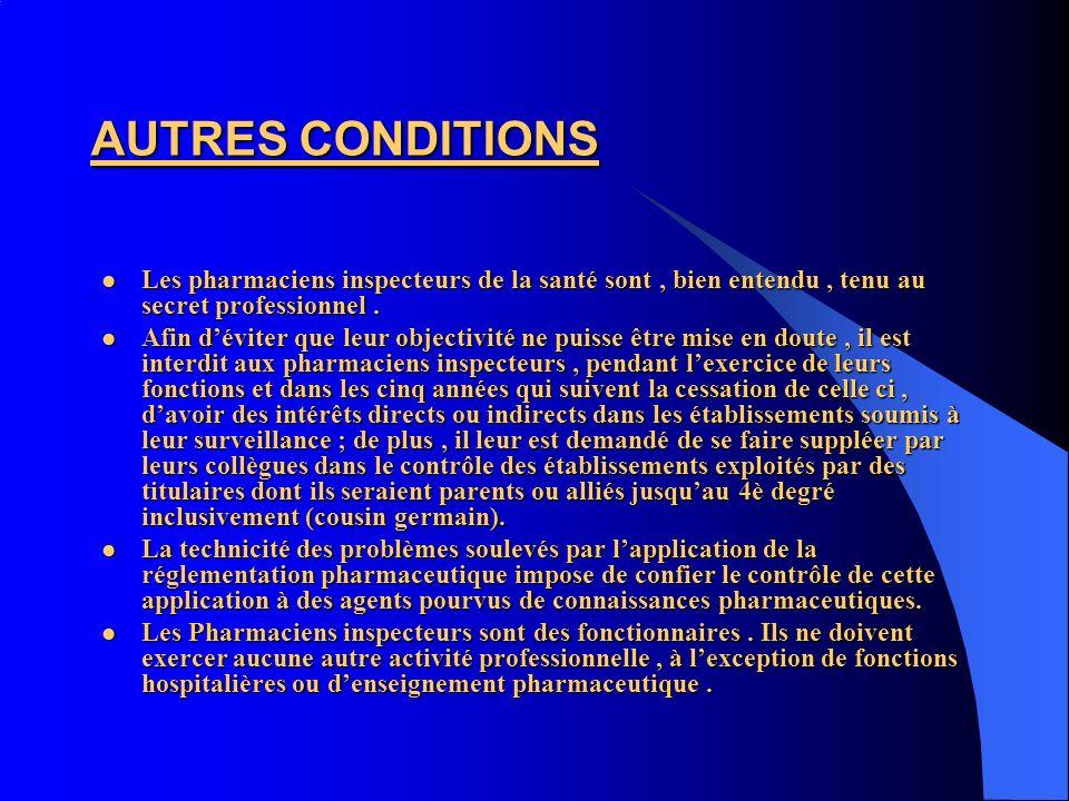 AUTRES CONDITIONS Les pharmaciens inspecteurs de la santé sont, bien entendu, tenu au secret professionnel. Les pharmaciens inspecteurs de la santé so