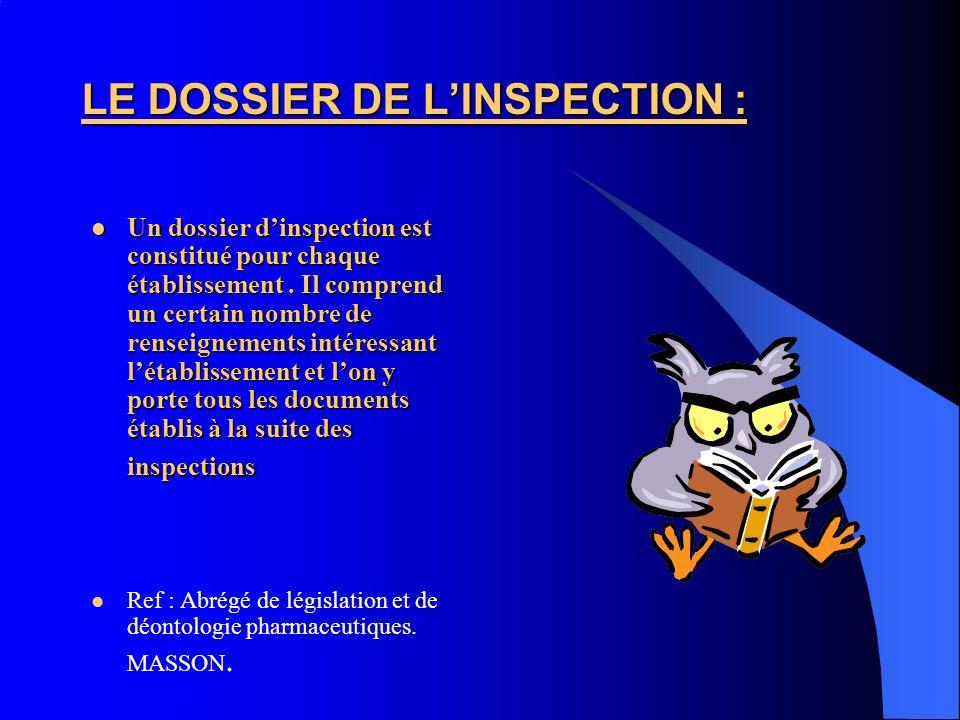 LE DOSSIER DE LINSPECTION : Un dossier dinspection est constitué pour chaque établissement. Il comprend un certain nombre de renseignements intéressan