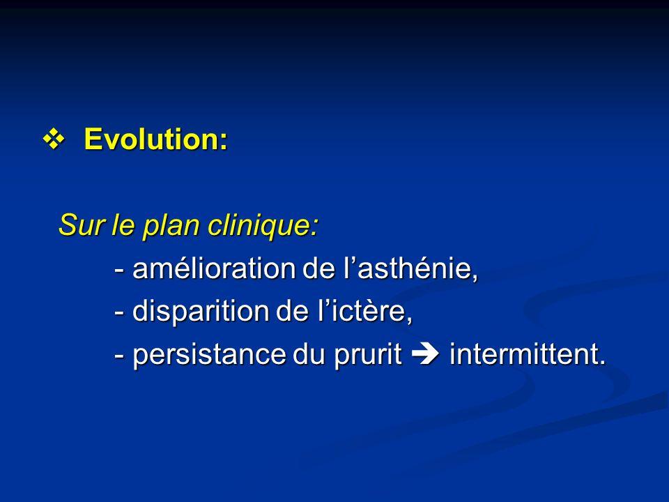 Evolution: Evolution: Sur le plan clinique: Sur le plan clinique: - amélioration de lasthénie, - amélioration de lasthénie, - disparition de lictère,