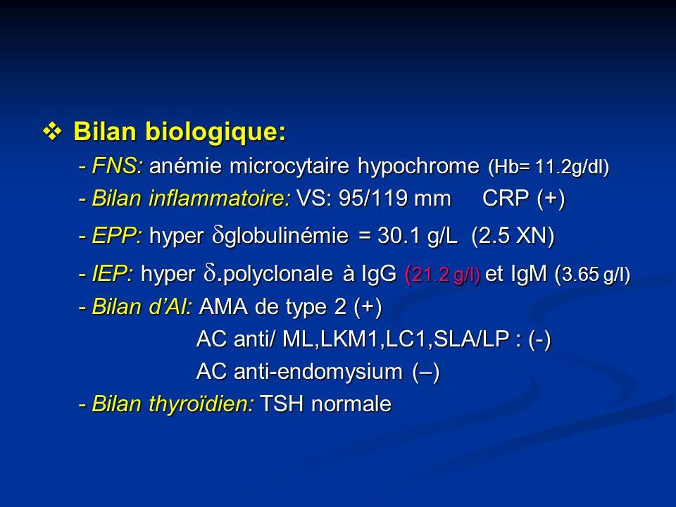 Bilan biologique: Bilan biologique: - FNS: anémie microcytaire hypochrome (Hb= 11.2g/dl) - FNS: anémie microcytaire hypochrome (Hb= 11.2g/dl) - Bilan