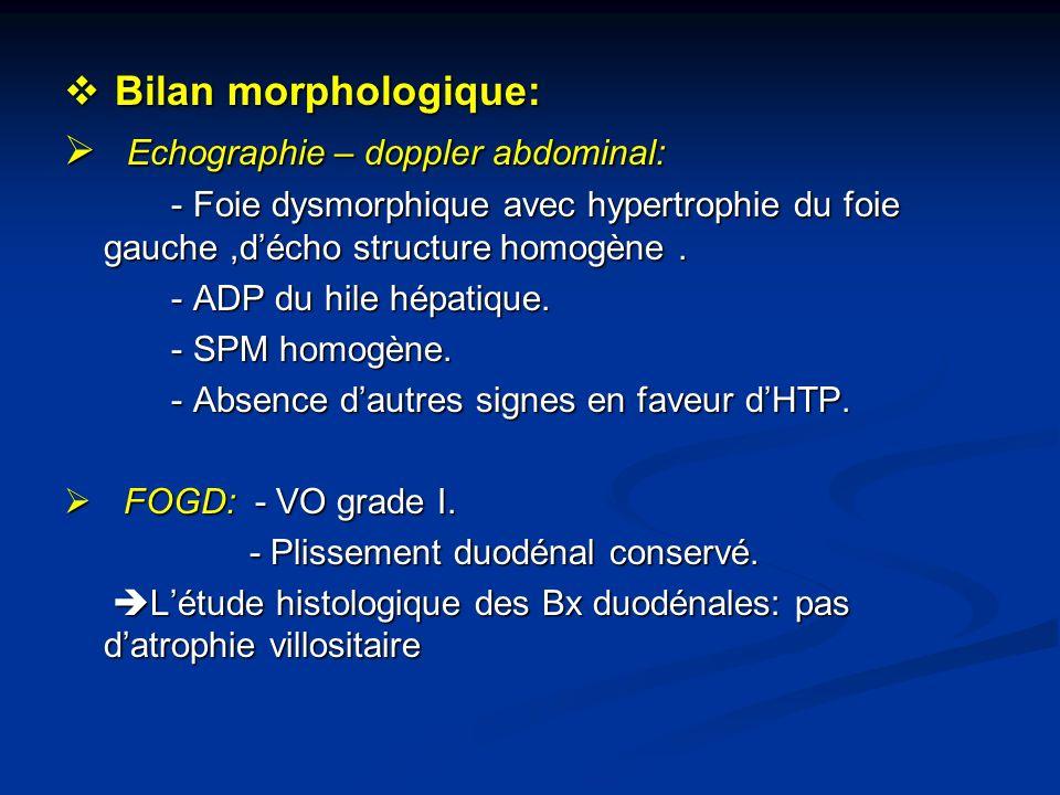 Bilan morphologique: Bilan morphologique: Echographie – doppler abdominal: Echographie – doppler abdominal: - Foie dysmorphique avec hypertrophie du f