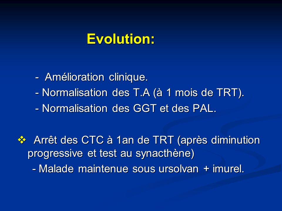 Evolution: Evolution: - Amélioration clinique. - Amélioration clinique. - Normalisation des T.A (à 1 mois de TRT). - Normalisation des T.A (à 1 mois d