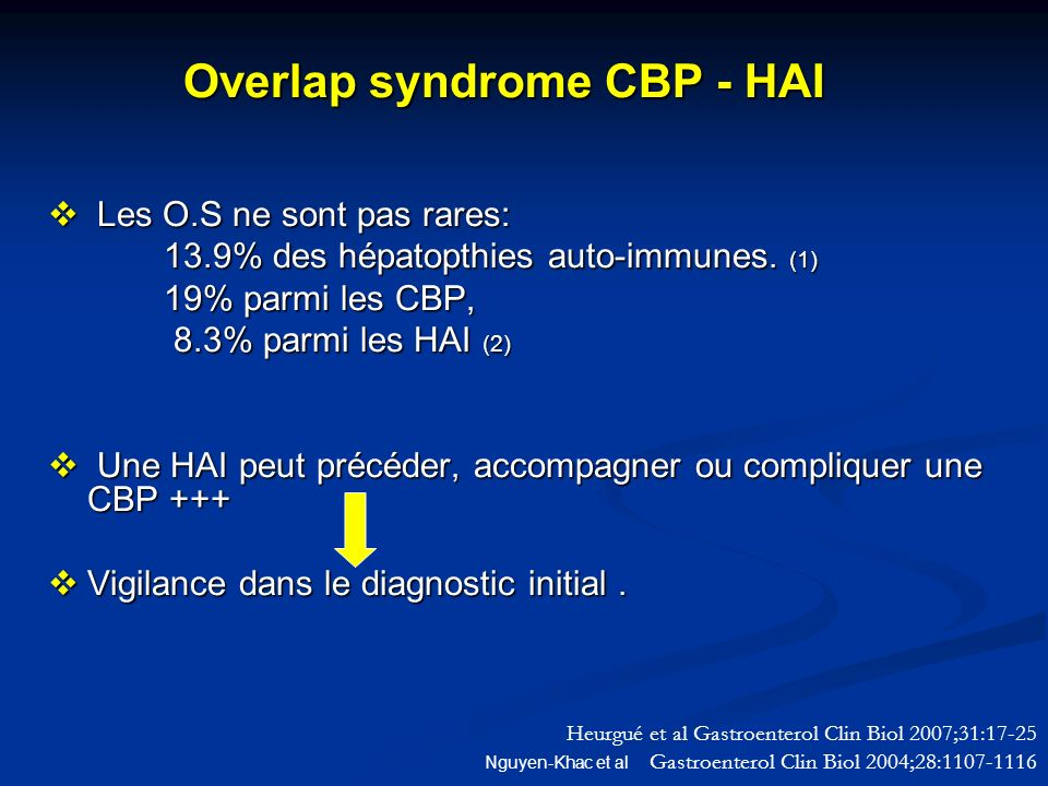 Overlap syndrome CBP - HAI Overlap syndrome CBP - HAI Les O.S ne sont pas rares: Les O.S ne sont pas rares: 13.9% des hépatopthies auto-immunes. (1) 1