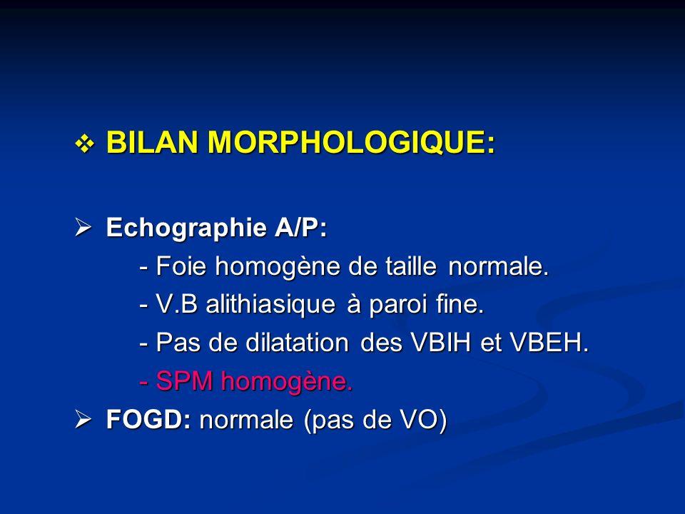 BILAN MORPHOLOGIQUE: BILAN MORPHOLOGIQUE: Echographie A/P: Echographie A/P: - Foie homogène de taille normale. - Foie homogène de taille normale. - V.