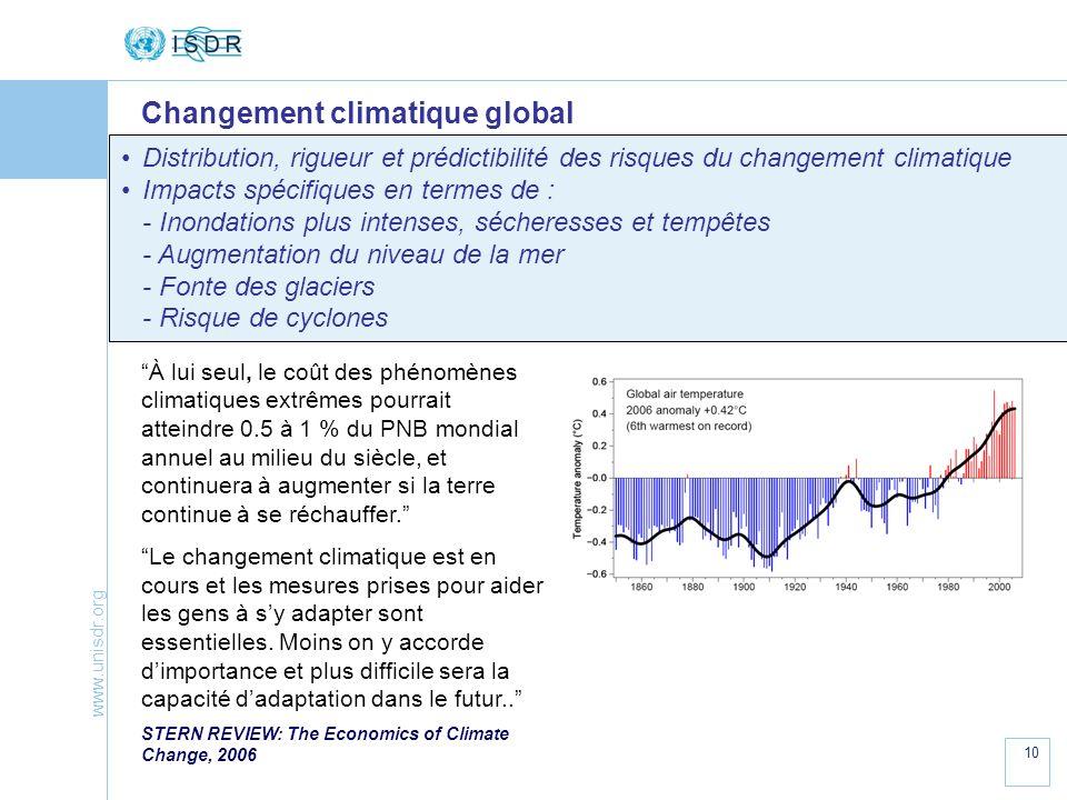 www.unisdr.org 10 Changement climatique global Distribution, rigueur et prédictibilité des risques du changement climatique Impacts spécifiques en ter