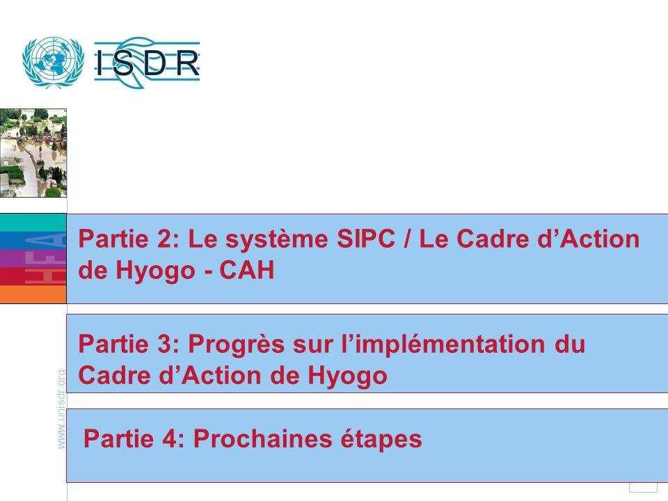 www.unisdr.org 13 Partie 2: Le système SIPC / Le Cadre dAction de Hyogo - CAH Partie 4: Prochaines étapes Partie 3: Progrès sur limplémentation du Cad