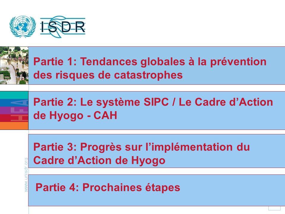 www.unisdr.org 2 Partie 1: Tendances globales à la prévention des risques de catastrophes Partie 2: Le système SIPC / Le Cadre dAction de Hyogo - CAH